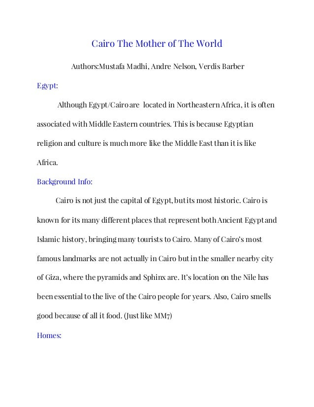 Cairo The Mother Of The World Book