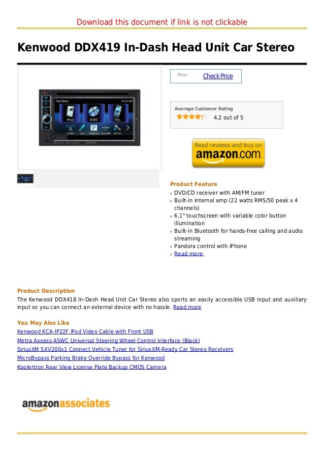 Download this document if link is not clickableKenwood DDX419 In-Dash Head Unit Car Stereo                                ...