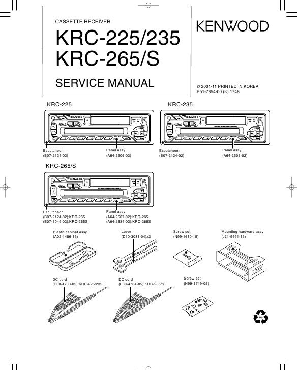CASSETTE RECEIVER          KRC-225/235       KRC-265/S       SERVICE MANUAL                                               ...