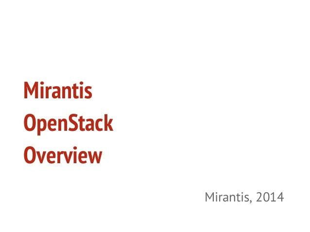 Mirantis OpenStack 5.0 Overview