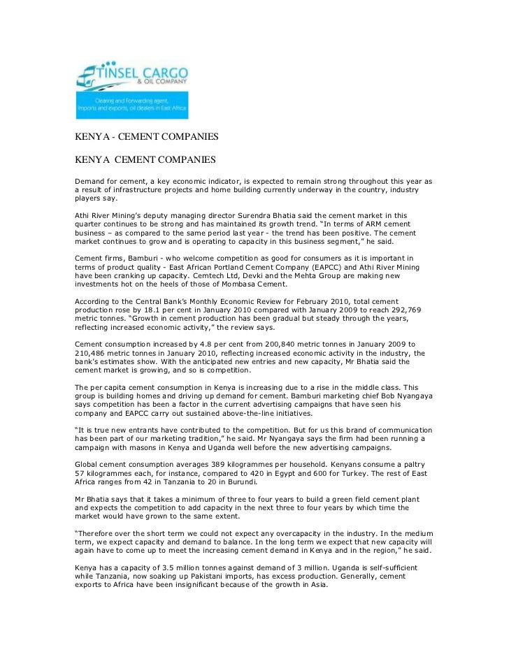 KENYA - CEMENT COMPANIES <br />KENYA  CEMENT COMPANIESDemand for cement, a key economic indicator, is expected to remain s...