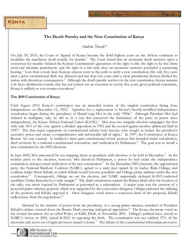 AAAfffrrriiicccaaa LLLaaawww TTTooodddaaayyy PPPaaagggeee 222666 The Death Penalty and the New Constitution of Kenya Andre...