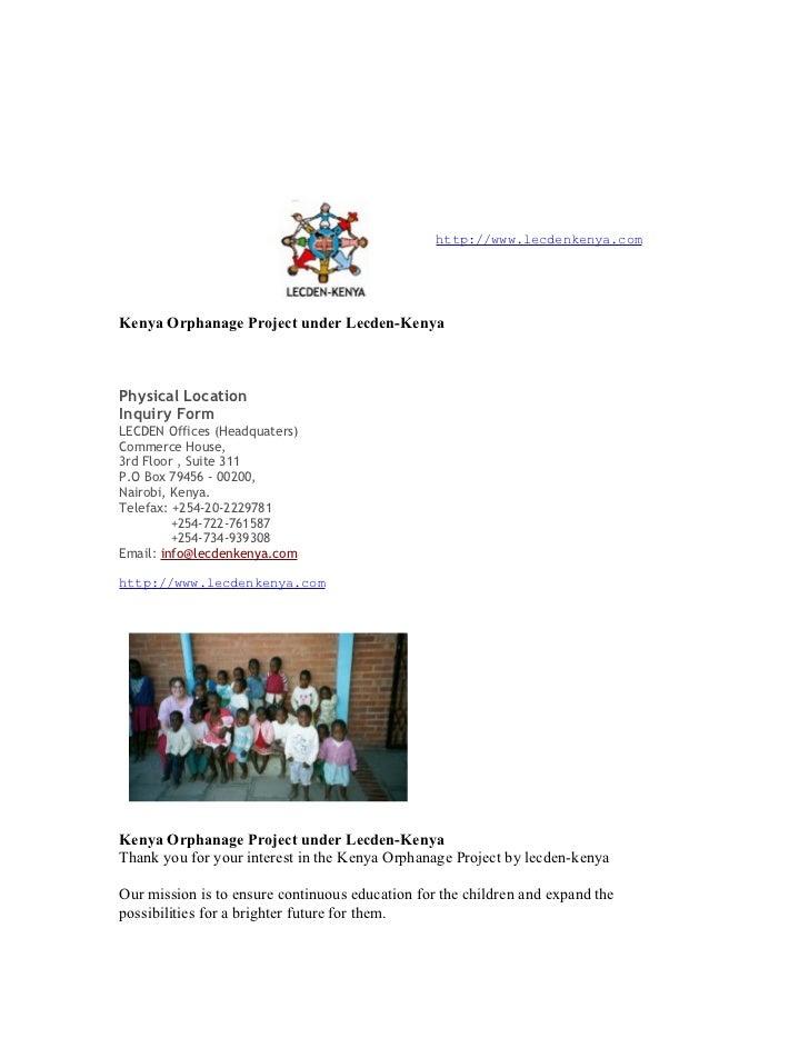 http://www.lecdenkenya.comKenya Orphanage Project under Lecden-KenyaPhysical LocationInquiry FormLECDEN Offices (Headquate...