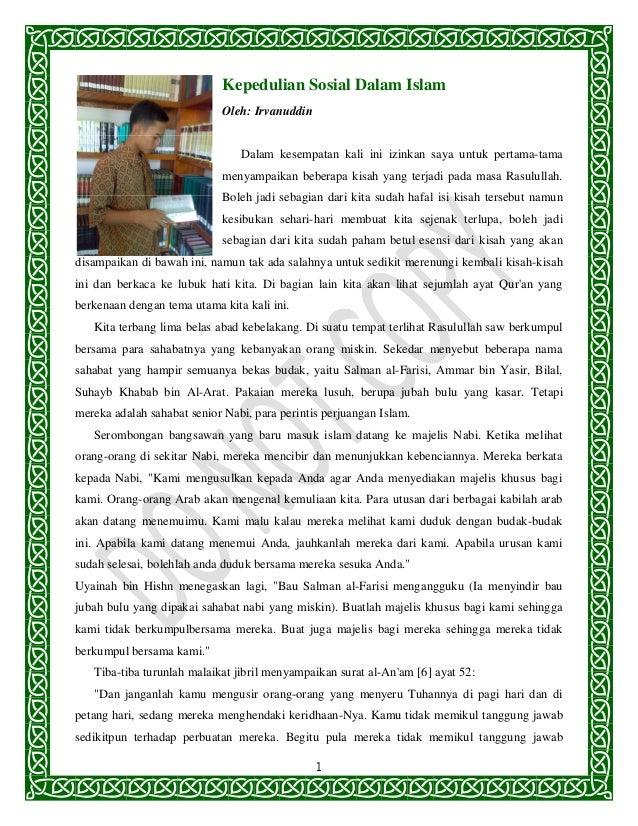 Kepedulian Sosial Dalam Islam                            Oleh: Irvanuddin                                Dalam kesempatan ...