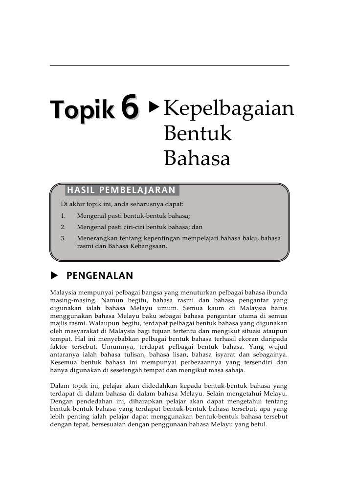 Topik 6 Kepelbagaian                                      Bentuk                                      Bahasa        HASIL ...