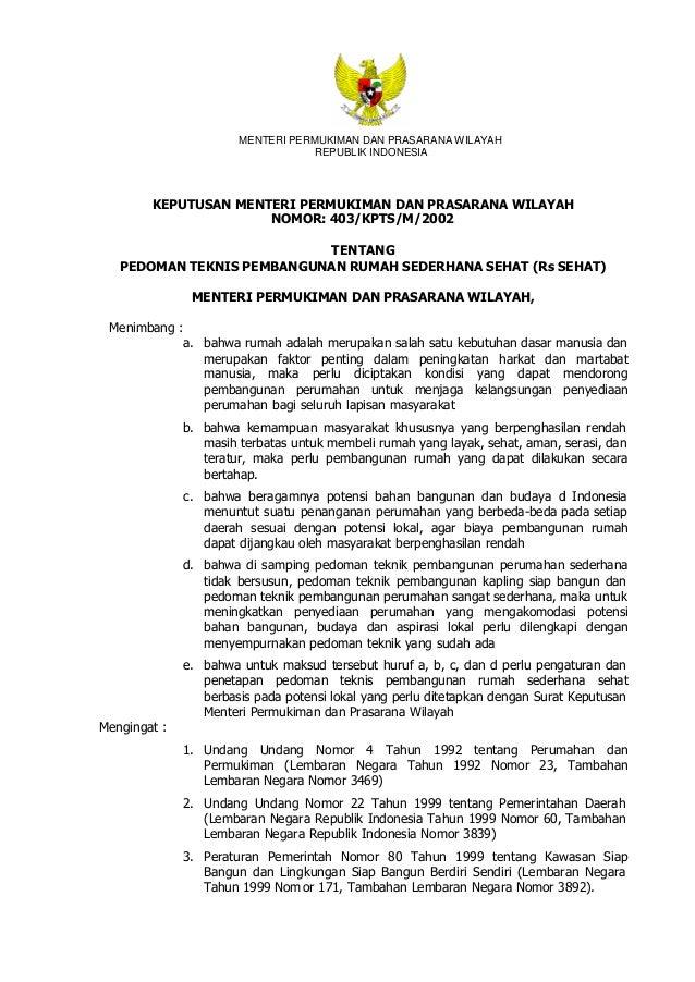 PEDOMAN TEKNIS PEMBANGUNAN RUMAH SEDERHANA SEHAT (Rs SEHAT) - 403/KPTS/M/2002