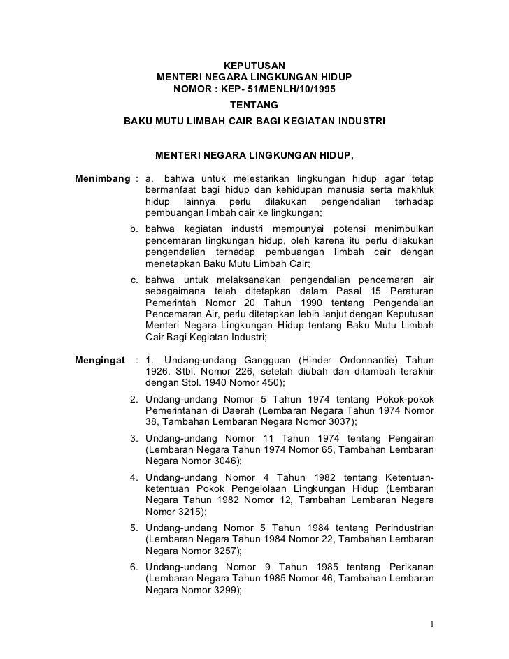 Kepmeneg Lingkungan Hidup No.51 Tahun 1995 tentang Baku Mutu Limbah Cair bagi Kegiatan Industri