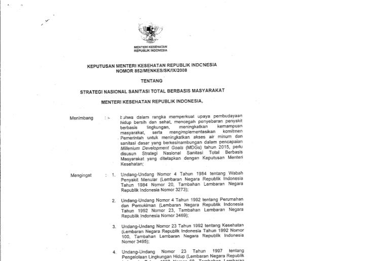 KepMenKes No. 852 Tahun 2008 tentang Sanitasi Total Berbasis Masyarakat (STBM)