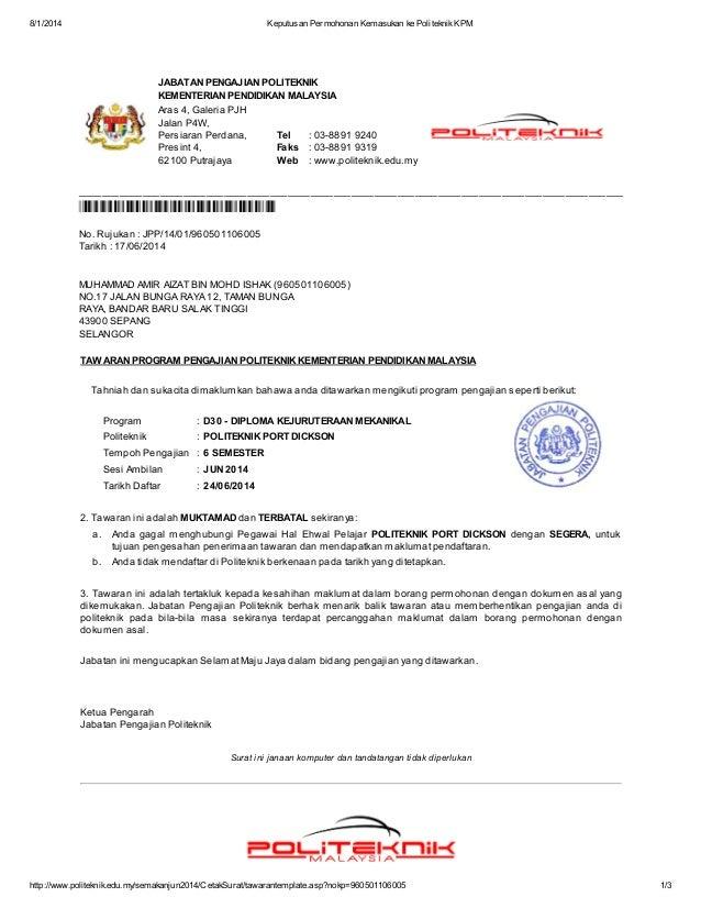 Surat Tawaran Politeknik