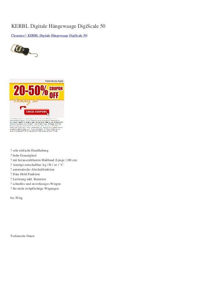 KERBL Digitale Hängewaage DigiScale 50Clearance!- KERBL Digitale Hängewaage DigiScale 50]? sehr einfache Handhabung? hohe ...