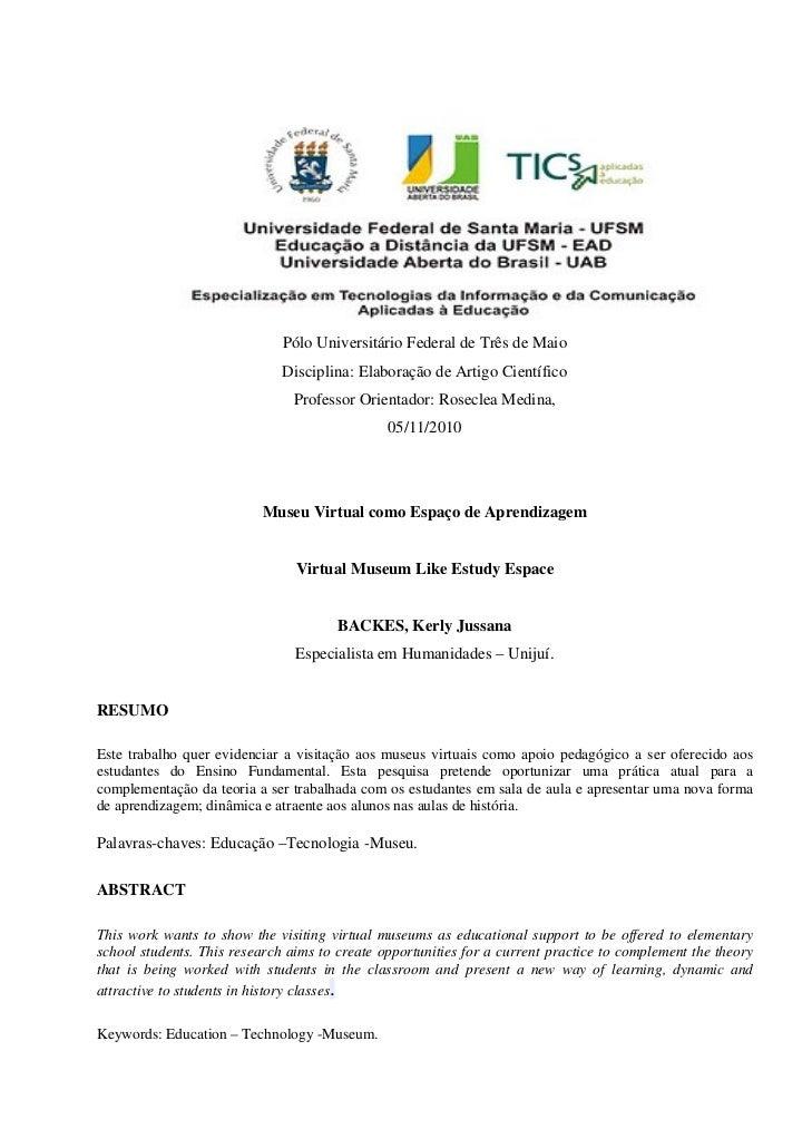 Pólo Universitário Federal de Três de Maio                              Disciplina: Elaboração de Artigo Científico       ...