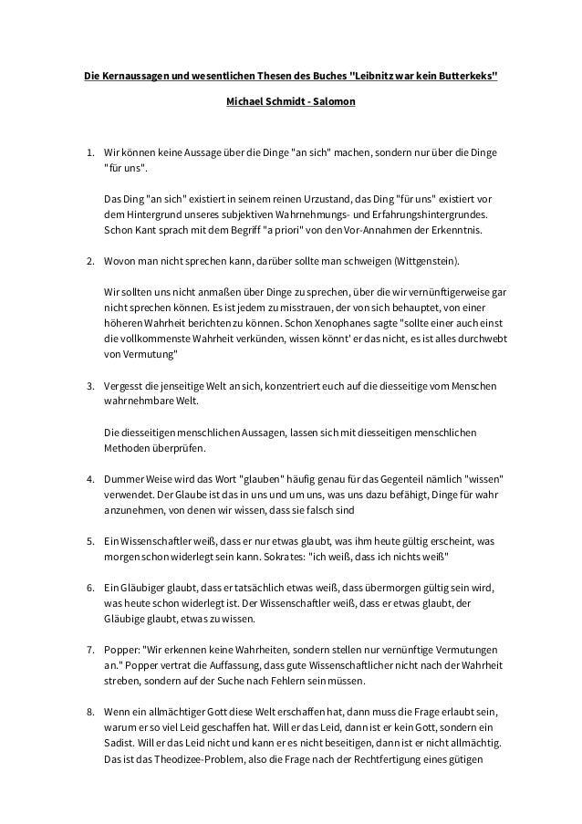 """Die Kernaussagen und wesentlichen Thesen des Buches """"Leibnitz war kein Butterkeks"""" Michael Schmidt - Salomon 1. Wir können..."""