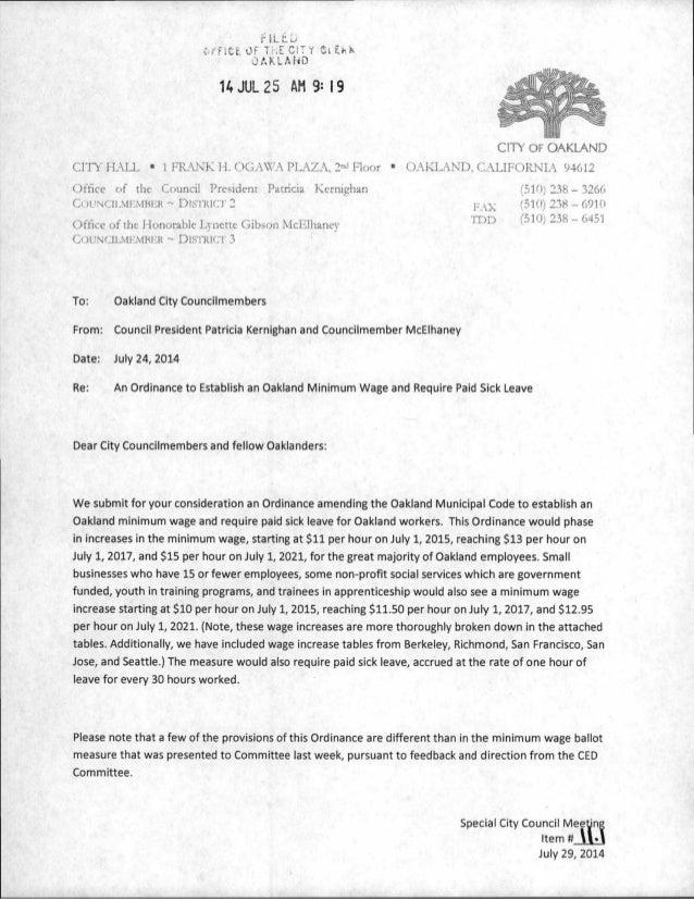 Kernighan And Mcelhaney Memo On Minimum Wage Proposal