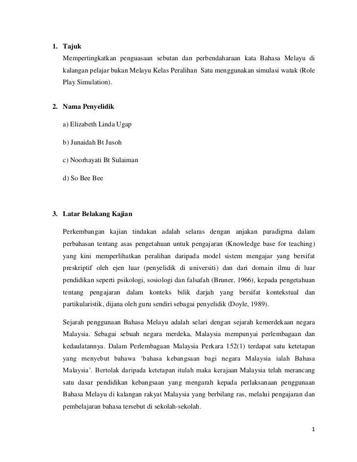 <ul><li>TajukMempertingkatkan penguasaan sebutan dan perbendaharaan kata Bahasa Melayu di kalangan pelajar bukan Melayu Ke...