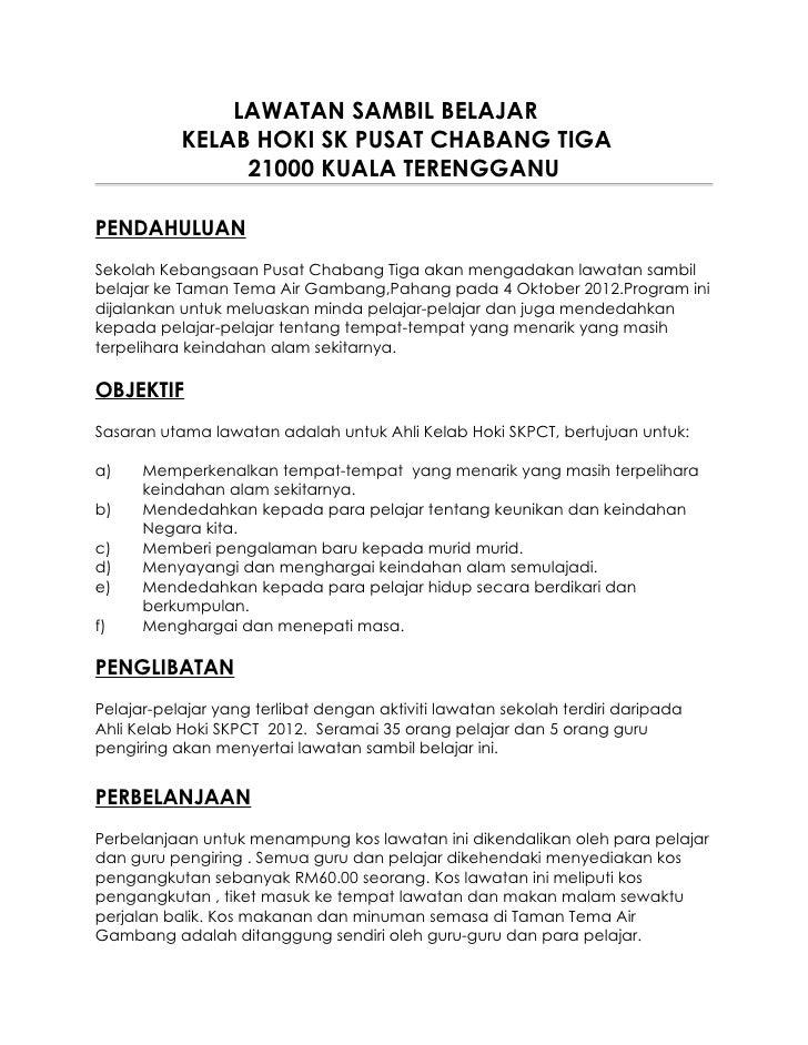 LAWATAN SAMBIL BELAJAR           KELAB HOKI SK PUSAT CHABANG TIGA                21000 KUALA TERENGGANUPENDAHULUANSekolah ...