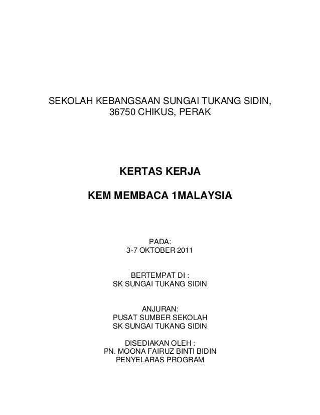 Kertas kerja membaca 1 malaysia