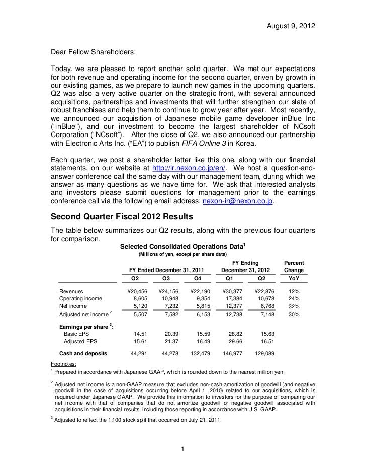 August 9, 2012Dear Fellow Shareholders:Today, we are pleased to report another solid quarter. We met our expectationsfor b...
