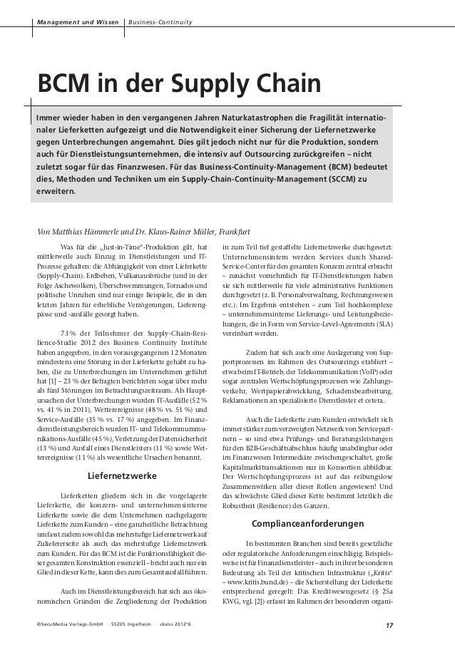 Management und Wissen              Business-ContinuityBCM in der Supply ChainImmer wieder haben in den vergangenen Jahren ...