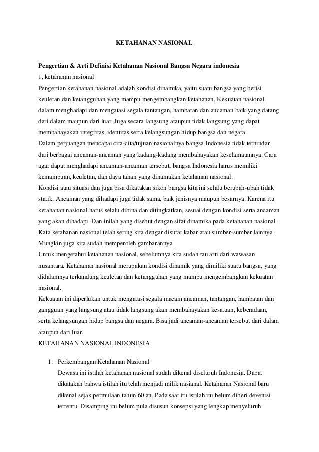 KETAHANAN NASIONALPengertian & Arti Definisi Ketahanan Nasional Bangsa Negara indonesia1, ketahanan nasionalPengertian ket...
