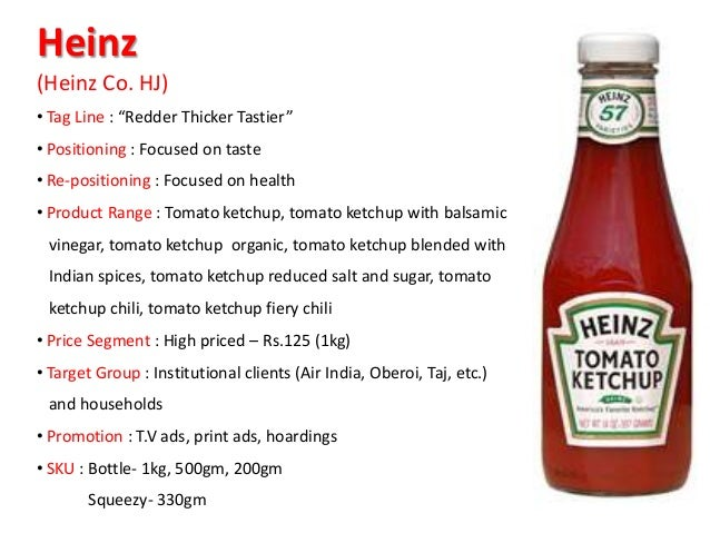 heinz ketchup pricing the product line Table 1 table 1 heinz ketchup: pricing the product line percentage increase in ketchup usage based on consumer habits from switching from a 24-oz (red rocket) .
