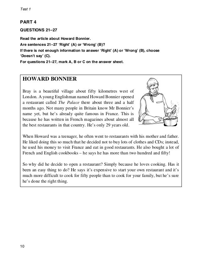 Ket Reading And Writing Practice