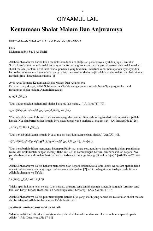 1  QIYAAMUL LAIL  Keutamaan Shalat Malam Dan Anjurannya KEUTAMAAN SHALAT MALAM DAN ANJURANNYA Oleh Muhammad bin Suud Al-Ur...