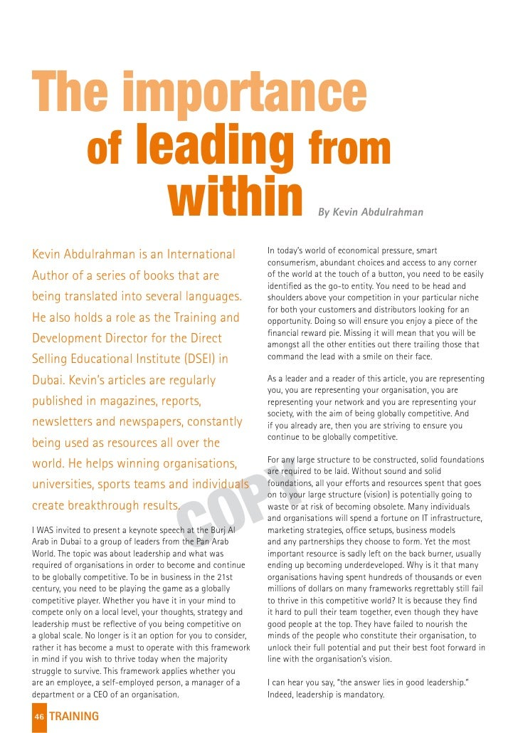 The importance  of leading from       within                                                                  By Kevin Abd...
