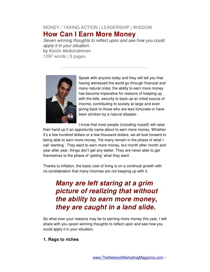 MONEY | TAKING ACTION | LEADERSHIP | WISDOMHow Can I Earn More MoneySeven winning thoughts to reflect upon and see how you...