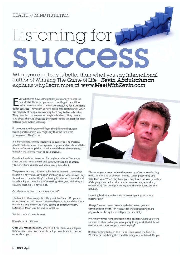 Kevin abdulrahman  listening for success