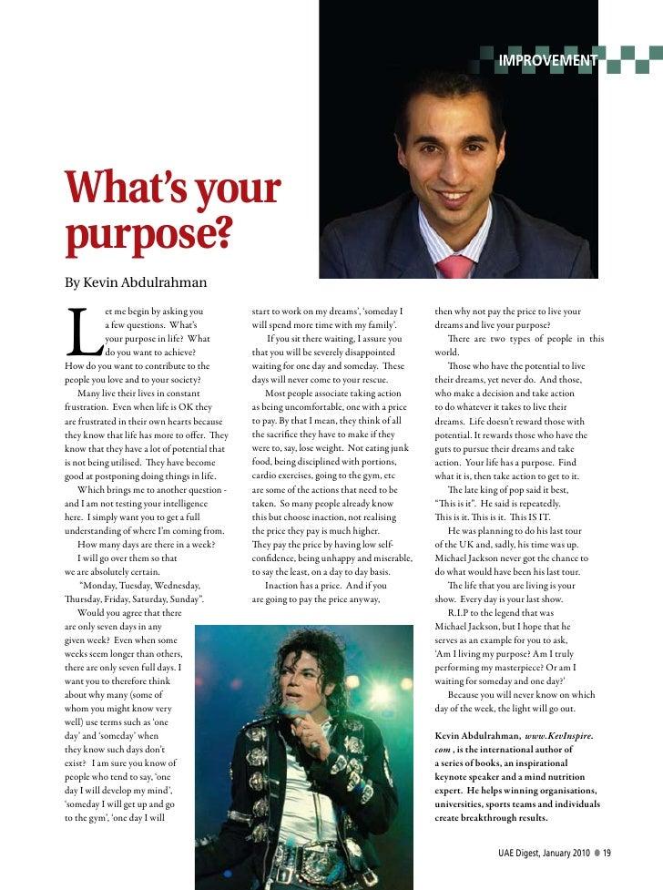 Kevin Abdulrahman - Your purpose