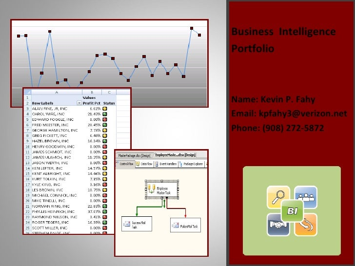 <ul><li>Business  Intelligence </li></ul><ul><li>Portfolio </li></ul><ul><li>Name: Kevin P. Fahy </li></ul><ul><li>Email: ...