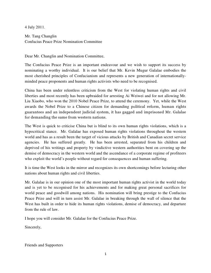 4 July 2011.<br />Mr. Tang Changlin<br />Confucius Peace Prize Nomination Committee<br />Dear Mr. Changlin and Nomination ...