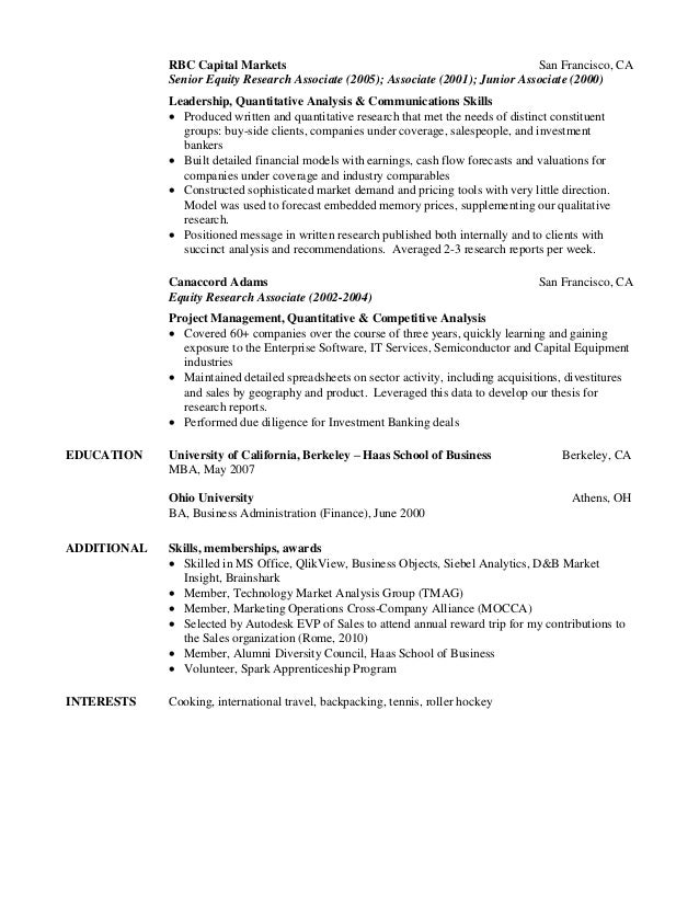 Buy side research resume