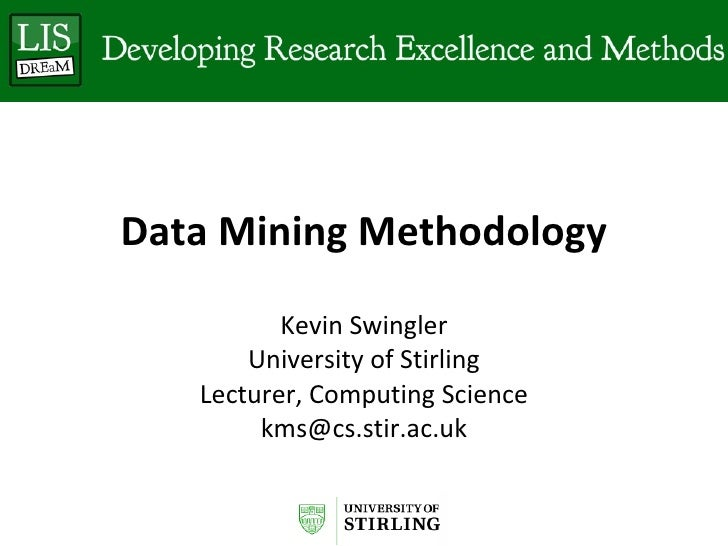 Kevin Swingler: Introduction to Data Mining
