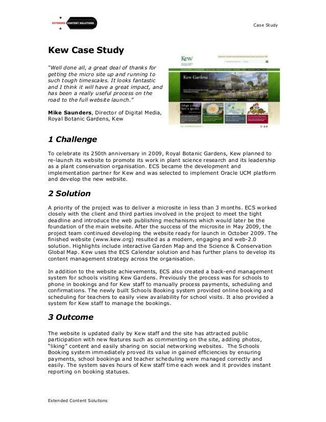 "Case StudyExtended Content SolutionsKew Case Study""Well done all, a great deal of thanks forgetting the micro site up and ..."