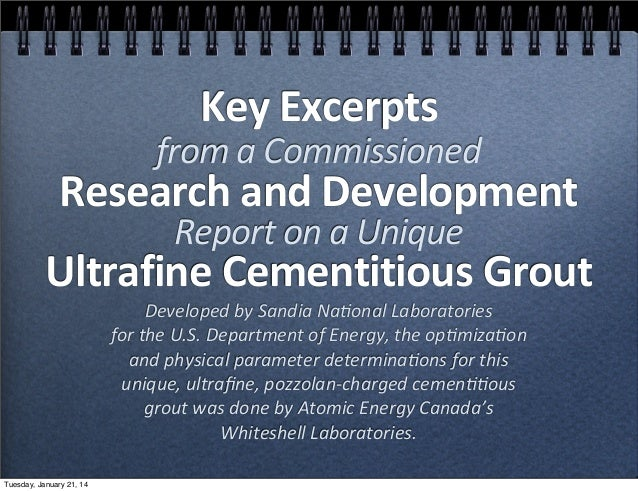 Key  Excerpts    from  a  Commissioned    Research  and  Development   Report  on  a  Unique    Ultrafine  Cementitious  G...