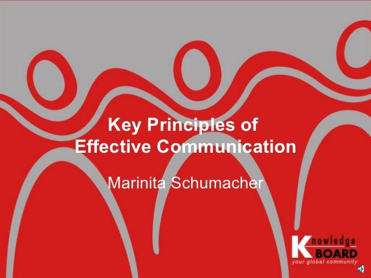 Marinita Schumacher Key Principles of  Effective Communication