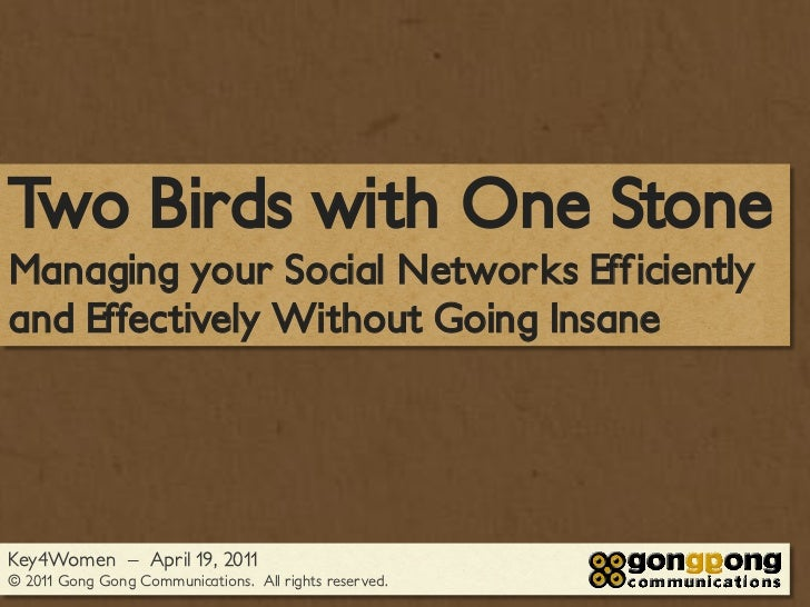 Two Birds with One StoneManaging your Social Networks Efficientlyand Effectively Without Going InsaneKey4Women – April 19,...