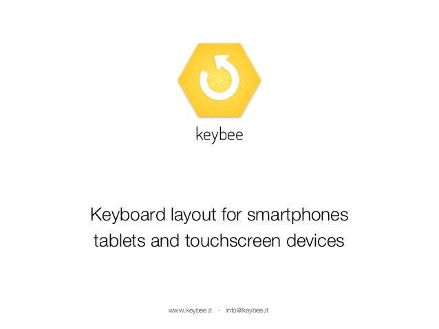 Keyboard layout for smartphones tablets and touchscreen devices keybee www.keybee.it - info@keybee.it