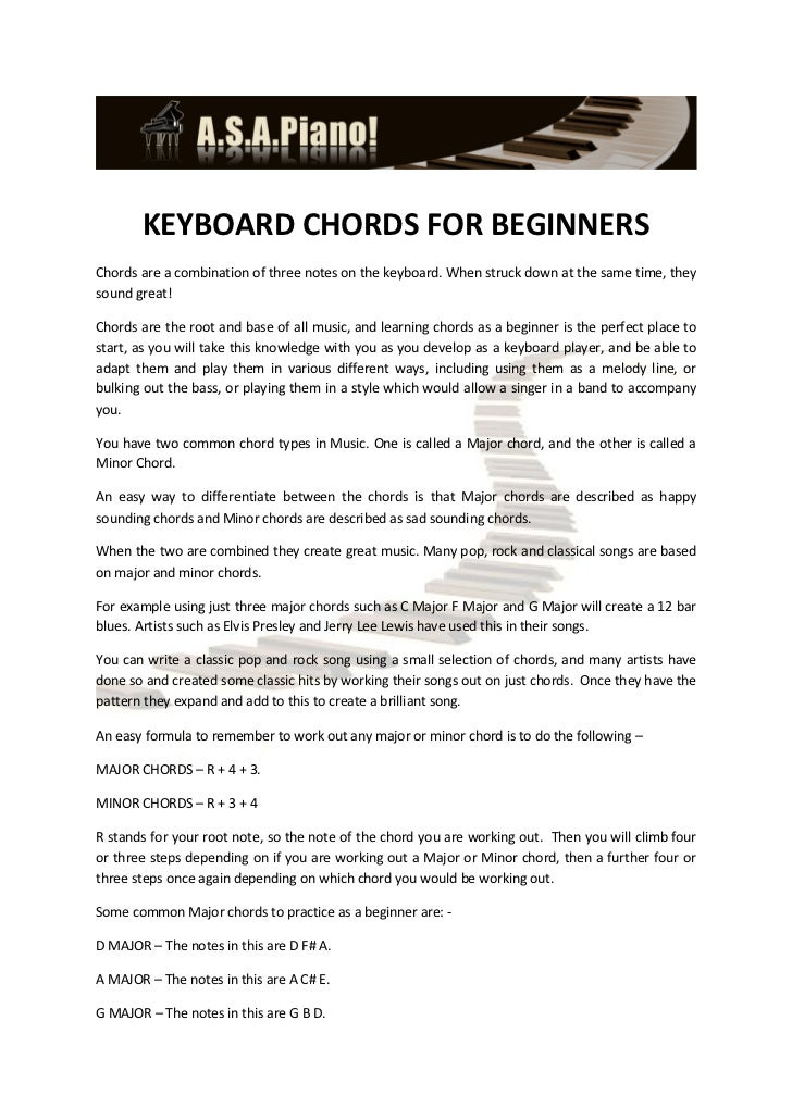 KEYBOARD CHORDS FOR BEGINNERSChords are a combination of three notes on the keyboard. When struck down at the same time, t...