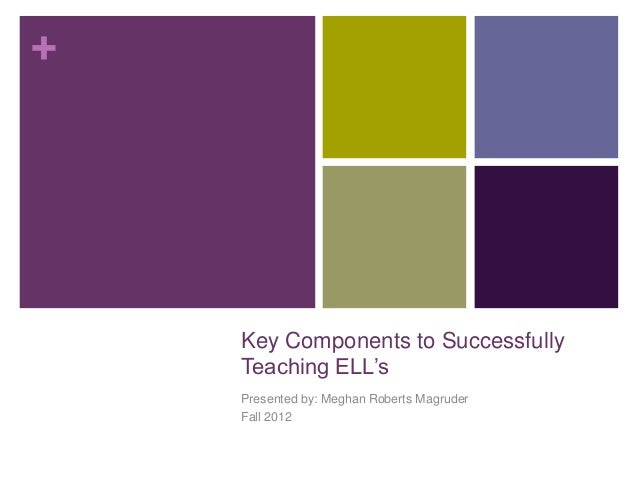 +    Key Components to Successfully    Teaching ELL's    Presented by: Meghan Roberts Magruder    Fall 2012