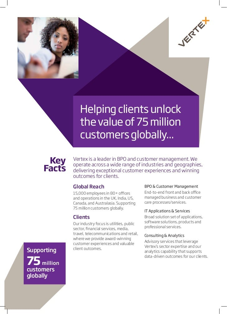 Helping clients unlock                 the value of 75 million                 customers globally...             Vertex is...