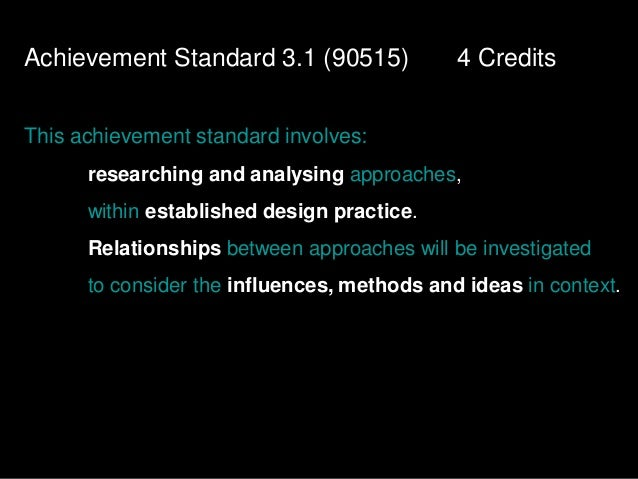 Achievement Standard 3.1 (90515)             4 CreditsThis achievement standard involves:      researching and analysing a...