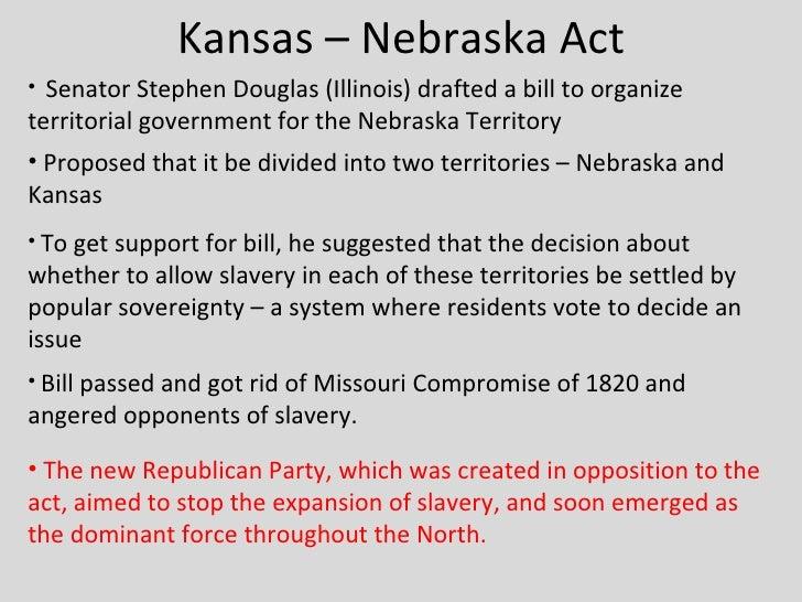 the resolution of the kansas nebraska act as proposed by sen stephen douglas