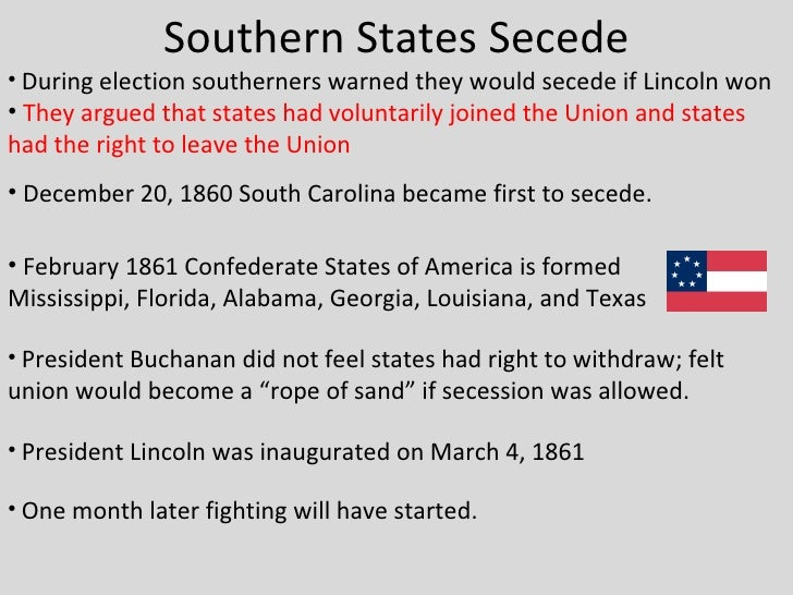 why did southern states secede 1861 Why did north carolina secede  southern dissenters in the nineteenth  volume vii, the confederate states of america, 1861-1865, e merton.