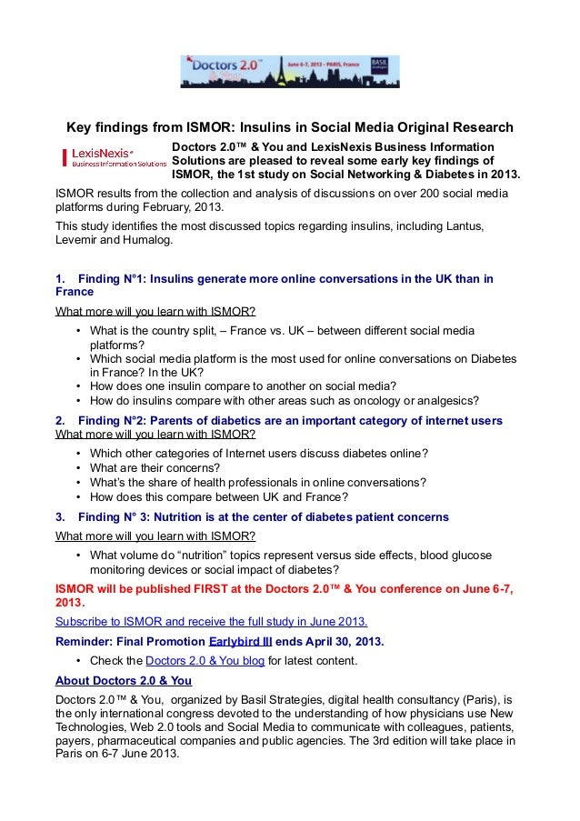 Key findings from ISMOR: Insulins in Social Media Original Research                         Doctors 2.0™ & You and LexisNe...