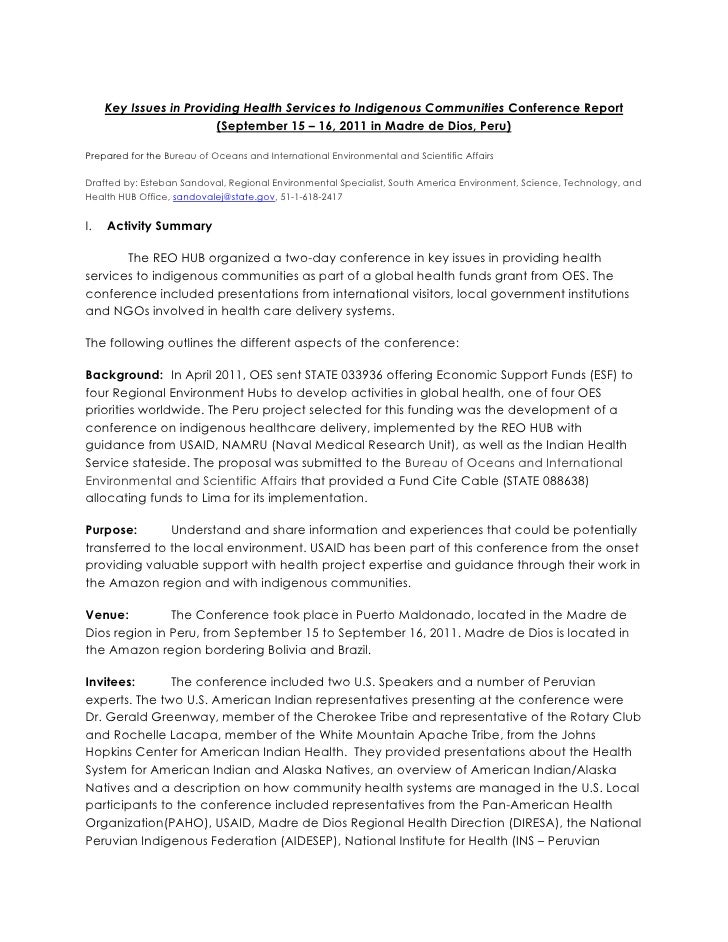 Key Issues in Providing Health Services to Indigenous Communities Conference Report                        (September 15 –...