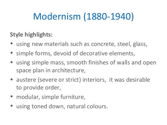 Key movements in design for Modernisme architecture definition