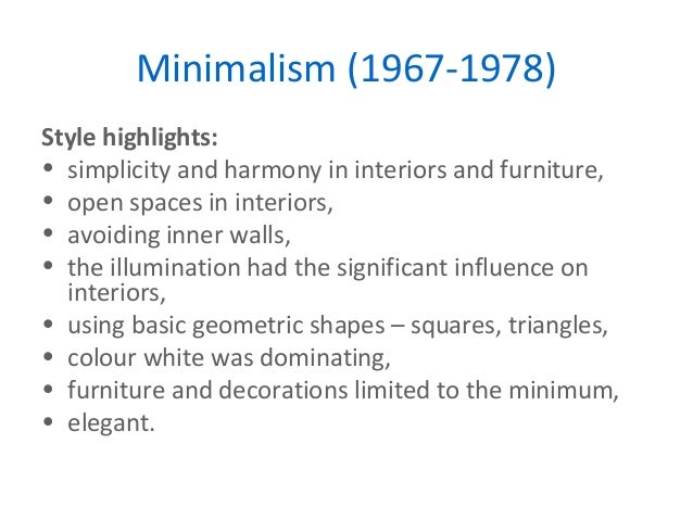 Key movements in design for Minimalist architecture theory