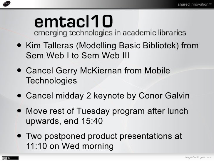 shared innovation™     Linking Education Data               Keynote, Day 2, 27th April 2010               emtacl10, Trondh...
